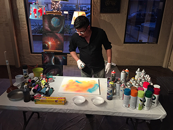 Gil Rocha demo art during March 6 2015 CaminArte at the LC4A